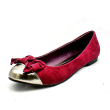 Load image into Gallery viewer, Suedette flat shoes / pumps with gold toe cap + bow