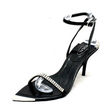Load image into Gallery viewer, Black diamante pointed toe with silver toe cap party sandals