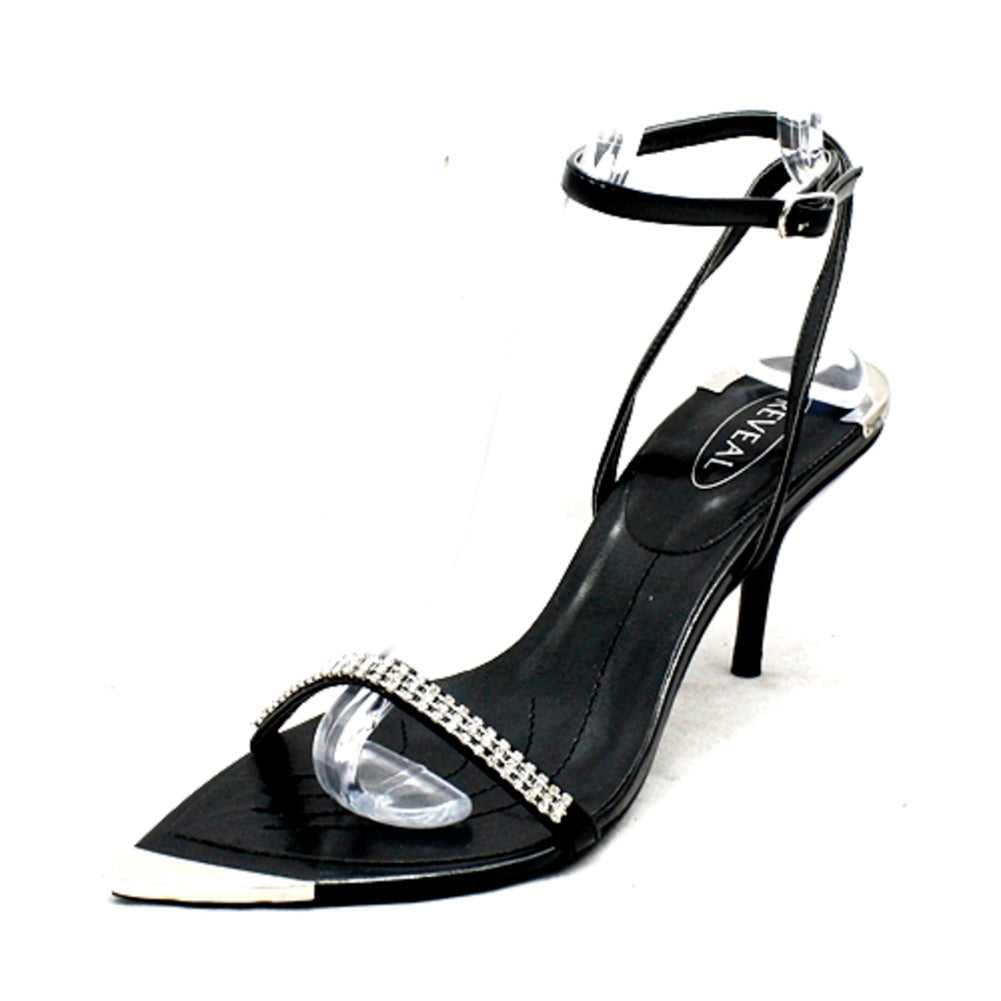 Black diamante pointed toe with silver toe cap party sandals