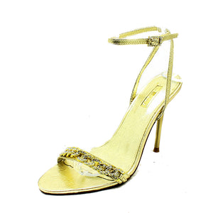 Sparkly chain high heel party sandals with ankle strap