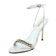 Load image into Gallery viewer, Sparkly chain high heel party sandals with ankle strap