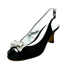 Load image into Gallery viewer, Satin Open Toe Kitten heel sling back shoes with diamante bow
