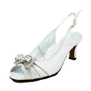 Satin Open Toe Kitten heel sling back shoes with diamante bow