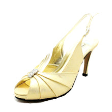 Load image into Gallery viewer, Shimmer high heel sling back wedding shoes with sparkly rouched peep toe