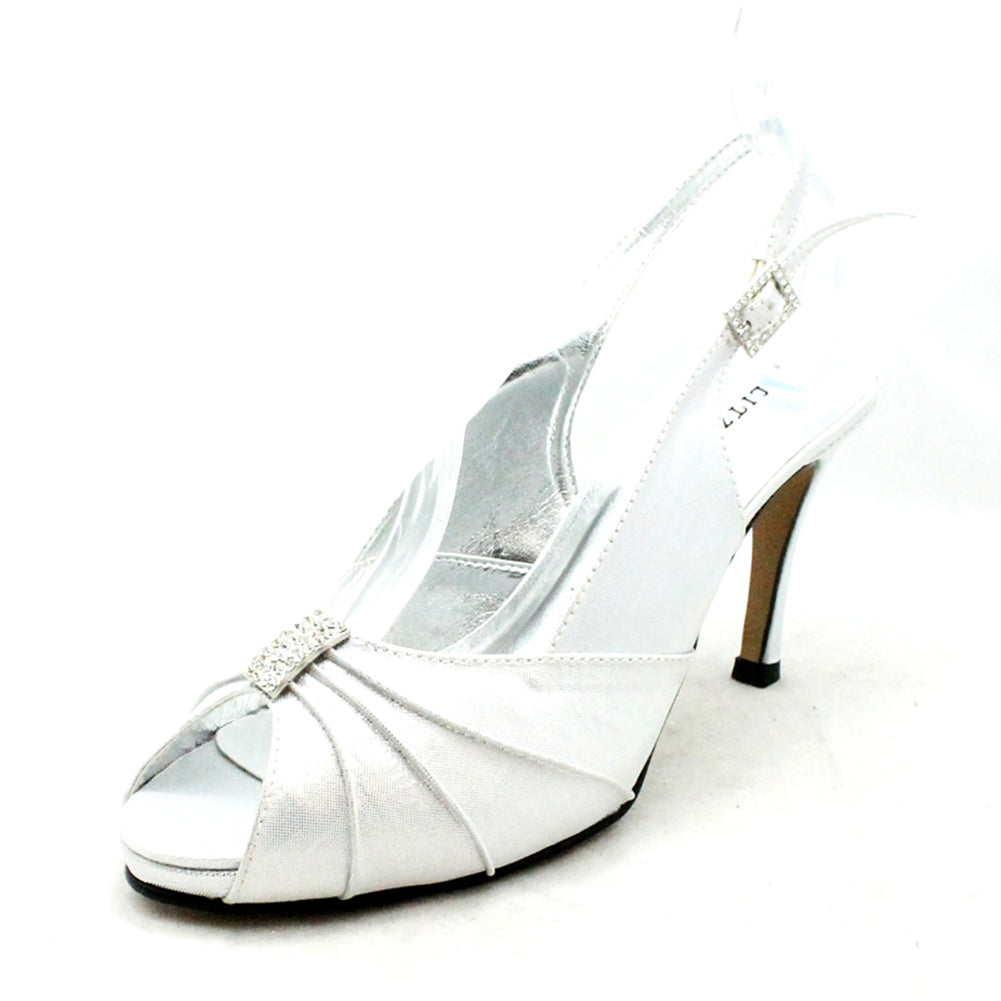 Shimmer high heel sling back wedding shoes with sparkly rouched peep toe