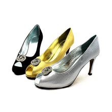 Load image into Gallery viewer, Shimmer Open toe medium heel wedding shoes
