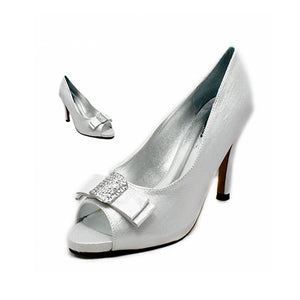 Satin peep toe high heel court shoes with square sparkly bow toe