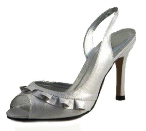 Satin high heel bridesmaid / party shoes with frilled front