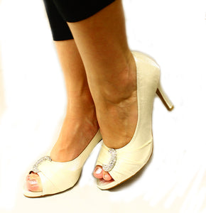 Shimmer medium heel sparkly crescent peep toe party shoes