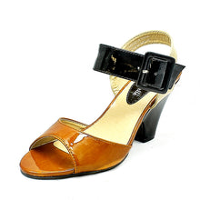 Load image into Gallery viewer, Tan / Black Patent Medium Chunky Heel Sandals