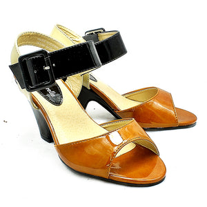 Tan / Black Patent Medium Chunky Heel Sandals