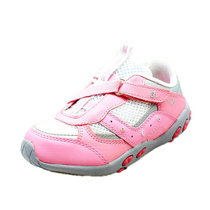 Childrens Pink Leather inner adjustable fastening trainers