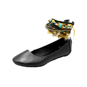 Black flat shoes / pumps with multiple ankle straps