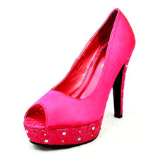 Load image into Gallery viewer, Satin sparkly detail high heel lace platform shoes