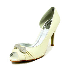 Load image into Gallery viewer, Satin Open side swirled diamante brooch wedding shoes