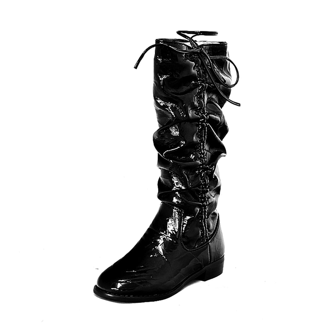 Older Girls Black patent rouched upper calf length flat boots
