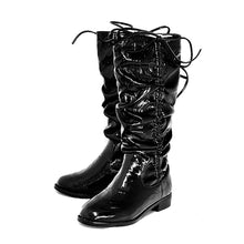Load image into Gallery viewer, Older Girls Black patent rouched upper calf length flat boots