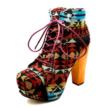 Load image into Gallery viewer, High Block Heel concealed platform ankle boots
