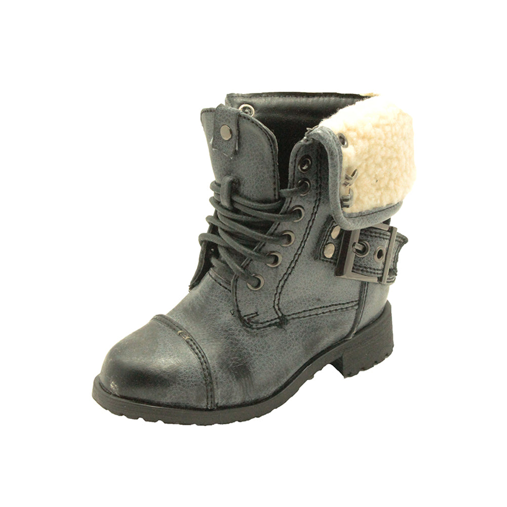 Infants / Childrens Fleece Cuff Military Boots - CLEARANCE