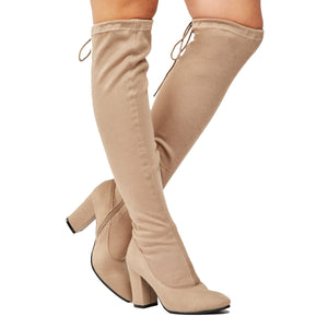 Knee length stretch jersey boots with block heel