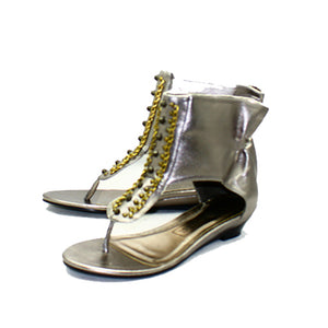 Pewter Almost Flat beaded sandals with ankle cuff - CLEARANCE