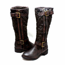 Load image into Gallery viewer, Quilted flat rain boots with silver buckles + warm lining