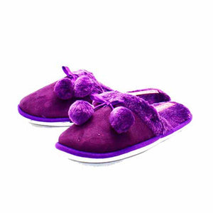 Dark purple plush fur collar pom pom open back slippers