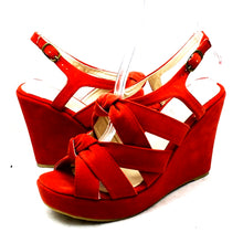 Load image into Gallery viewer, Coral Suedette wedge heel knot front sandals / shoes