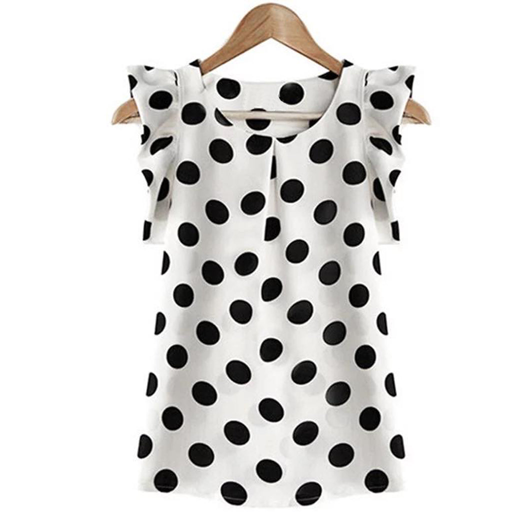 White / black spots lightweight blouse with frilled cap sleeves - CLEARANCE
