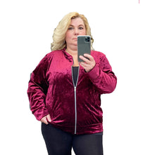 Load image into Gallery viewer, Velvet Zip Up Bomber jacket - Plus sizes too