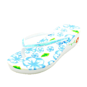Foam wedge heel flip flops with sequined strap