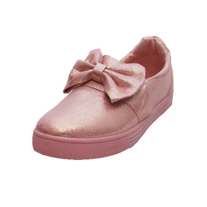 Pink sparkly flat shoes / pumps with bow to front