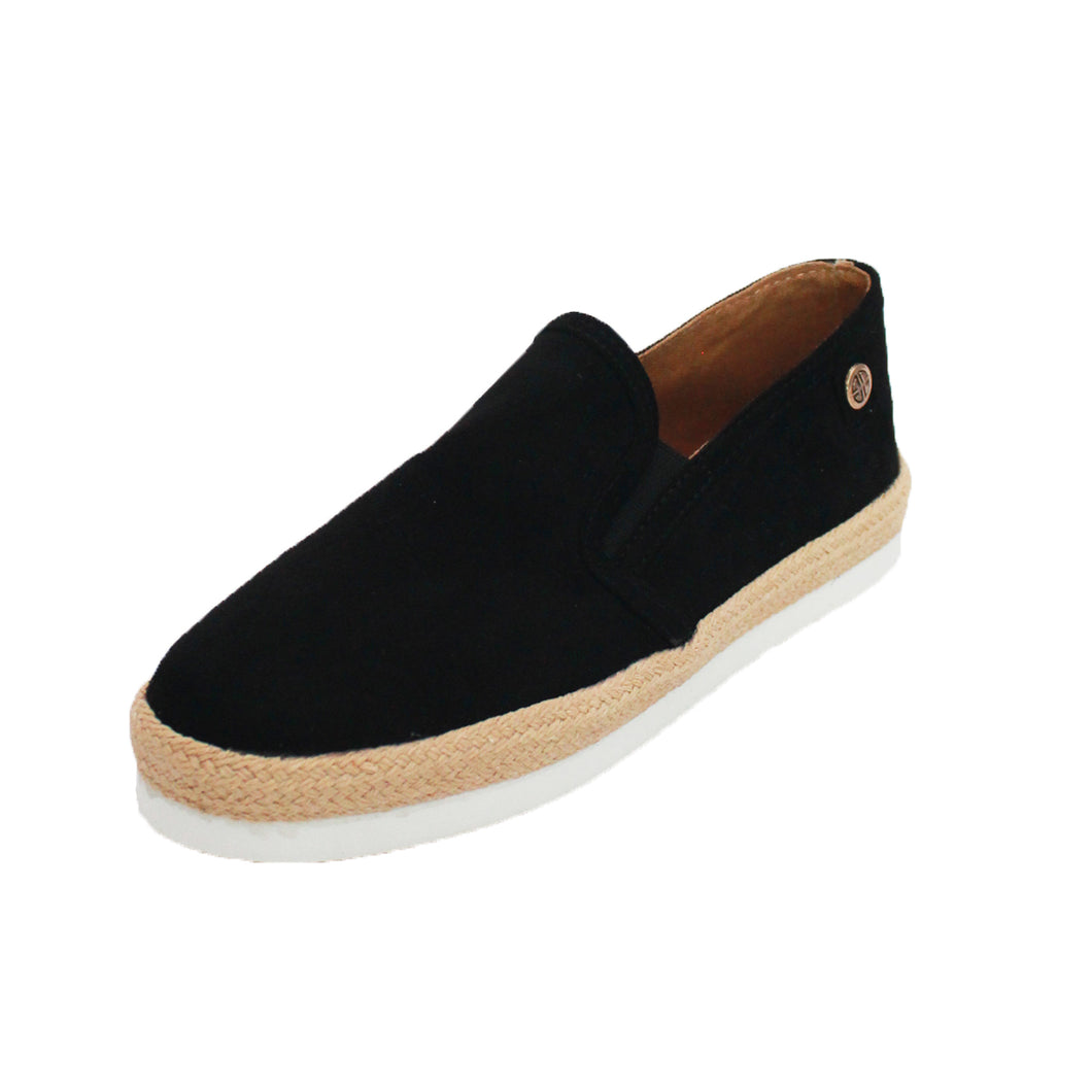 Black canvas flat pumps with rubber and hessian platform