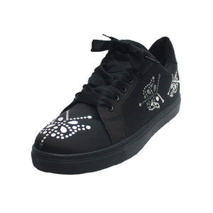Black satin trainers with silver sparkly detail