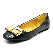 Load image into Gallery viewer, Flat shoes / pumps with brown small bow to front