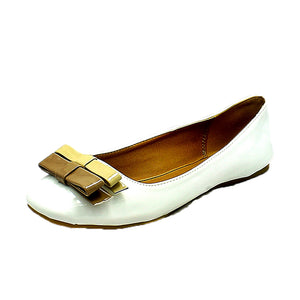 Flat shoes / pumps with brown small bow to front