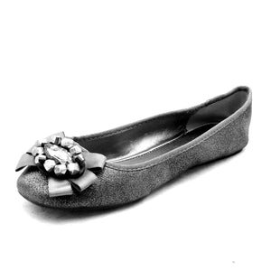 Sparkly flat party shoes with large jewel bow to front