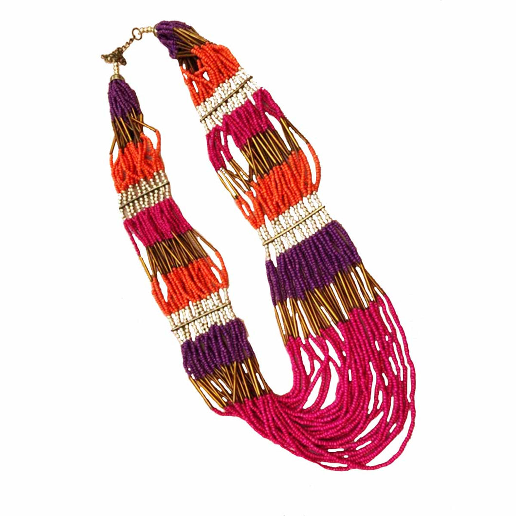 African inspired pink orange purple necklace