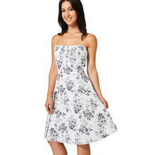 Load image into Gallery viewer, Strapless summer dress with floral pattern