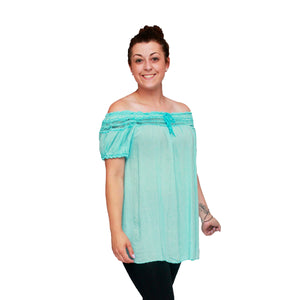 Cotton loose fitting top with crochet edging