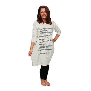 Oversized loose fitting dress with writing and sequins