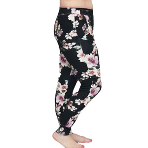 Black Floral skinny fit crepe trousers with front pockets