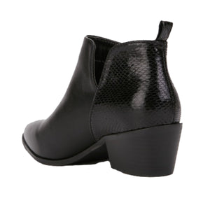 Black cuban Heel cut out side cowboy style ankle boots