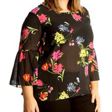 Load image into Gallery viewer, Floral print or plain chiffon blouse with bell sleeves