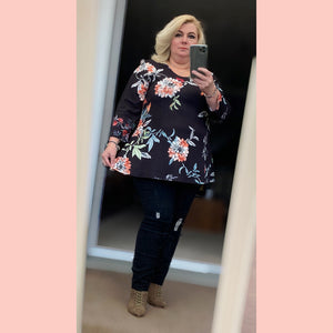 Long Sleeve Floral Swing top - Plus Sizes Too