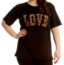 Load image into Gallery viewer, Short sleeve t-shirt with love leopard logo to front