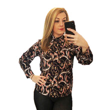 Load image into Gallery viewer, Black long sleeve blouse with red and white belt print