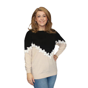 Soft Feel Jumper with cream leaves