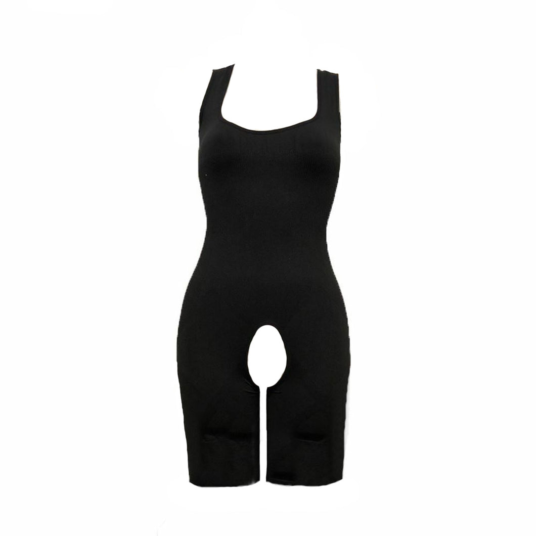 Elasticated all in one crotchless bodysuit shaper underwear