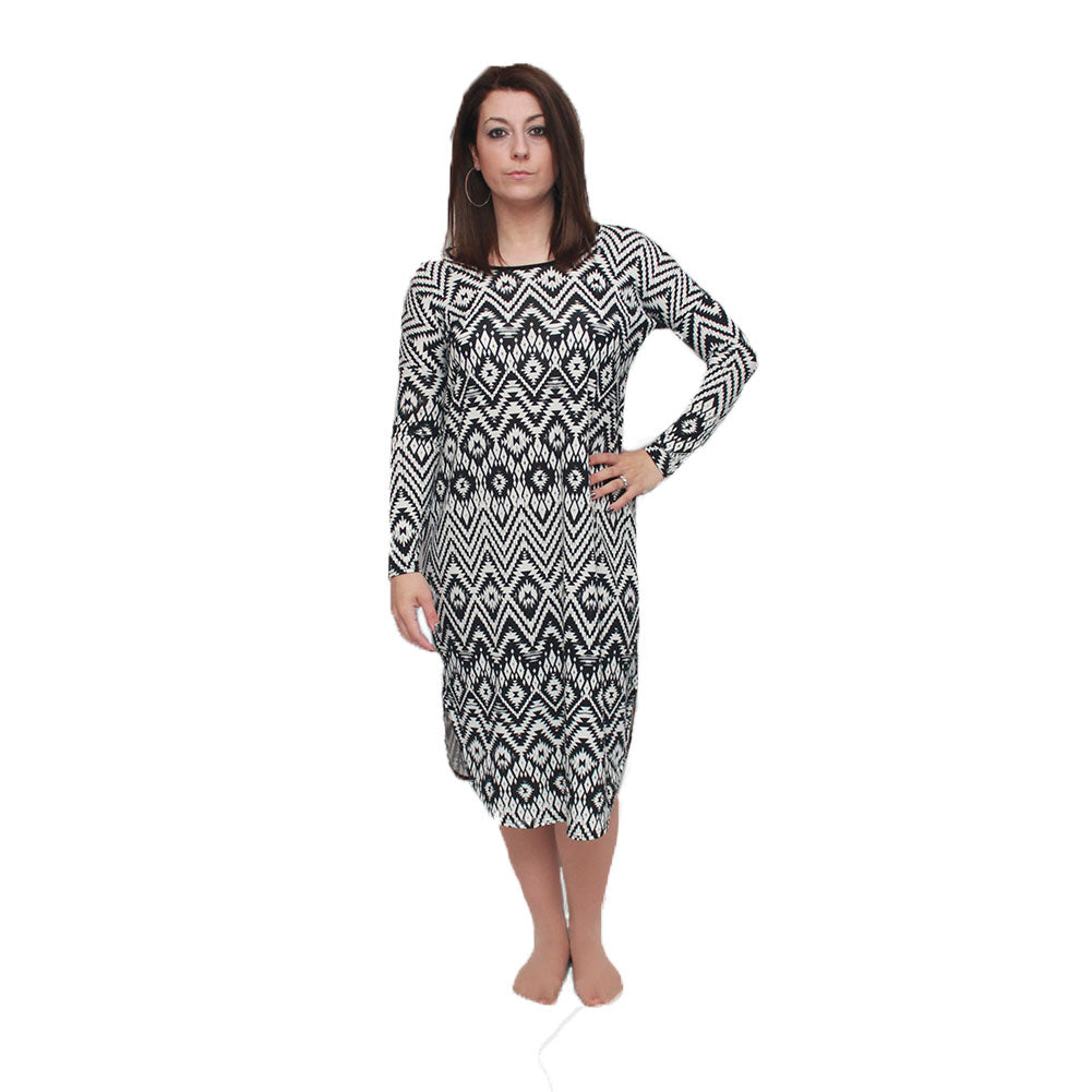 Black / white soft feel loose fitting lounge dress - CLEARANCE